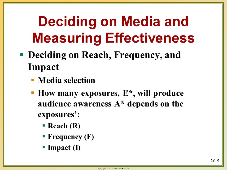 Deciding on Media and Measuring Effectiveness