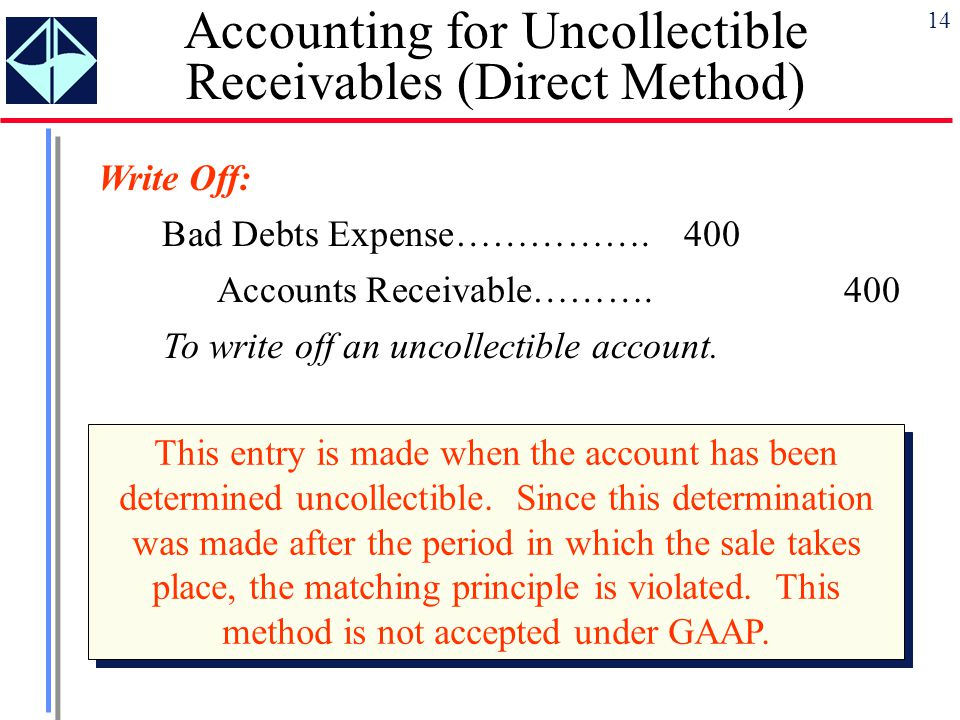 the methods for establishing and maintaining an allowance for bad debt accounts The allowance for doubtful accounts is used when bad debt expense is recorded prior to knowing the specific accounts receivable that will be uncollectible for example, a company might have 500 customers purchasing on credit and they owe the company a total of $1,000,000 the $1,000,000 is reported .