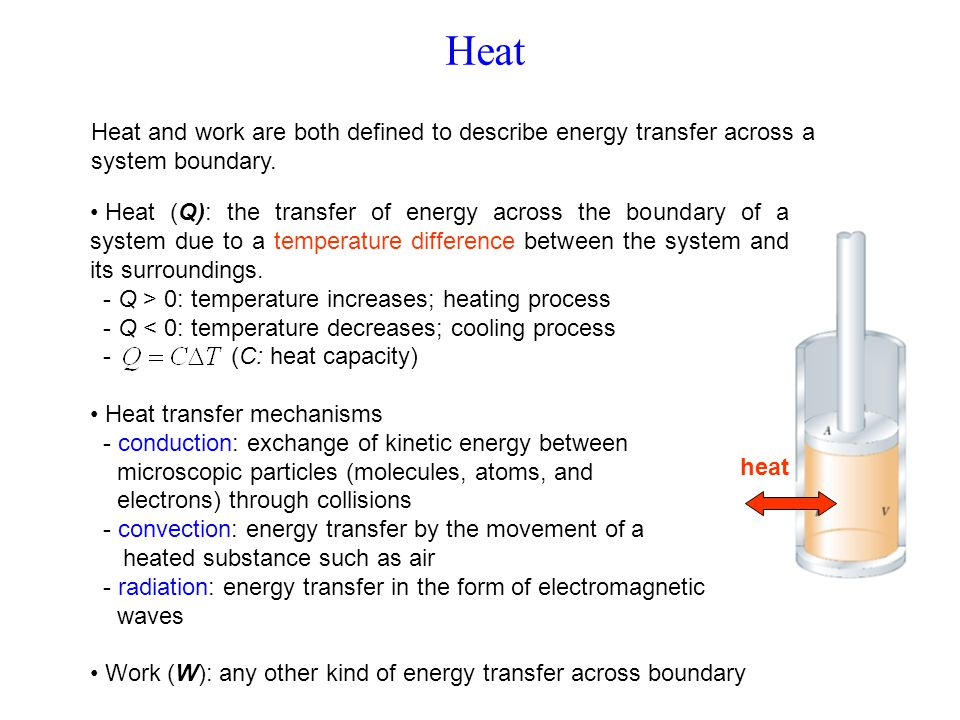 Heat Heat and work are both defined to describe energy transfer across a system boundary.