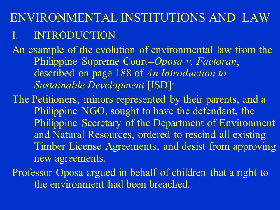 philippine environmental law Laws, such as pd 984 (pollution control law), pd 1586 (environmental impact assessment system law), ra 8749 (clean air act) and ra 9003 (ecological solid waste management act) and their.