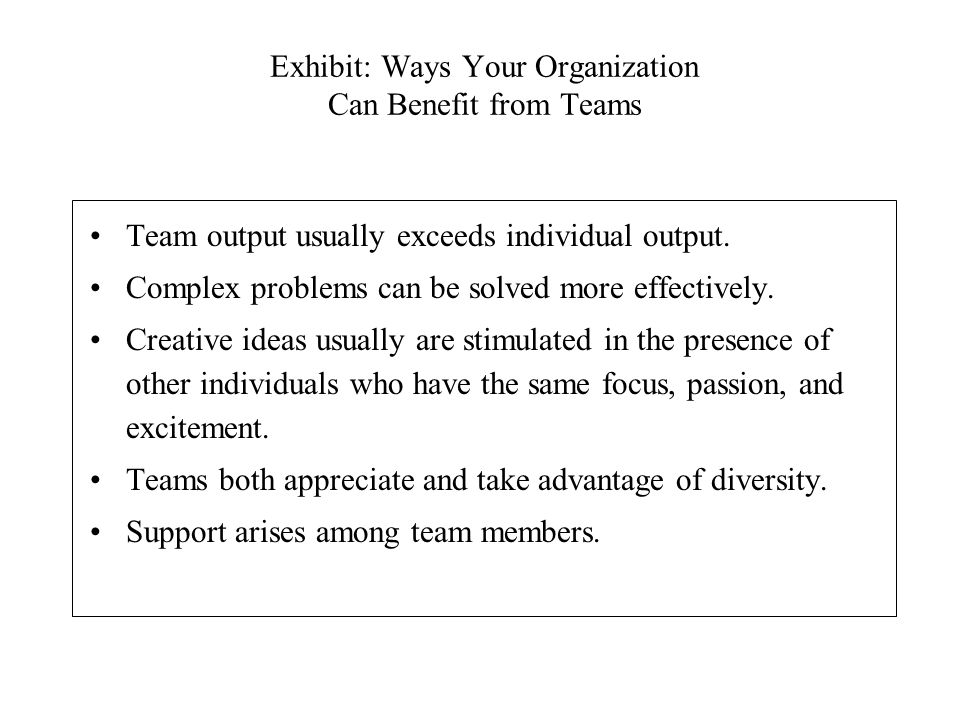 Exhibit: Ways Your Organization Can Benefit from Teams