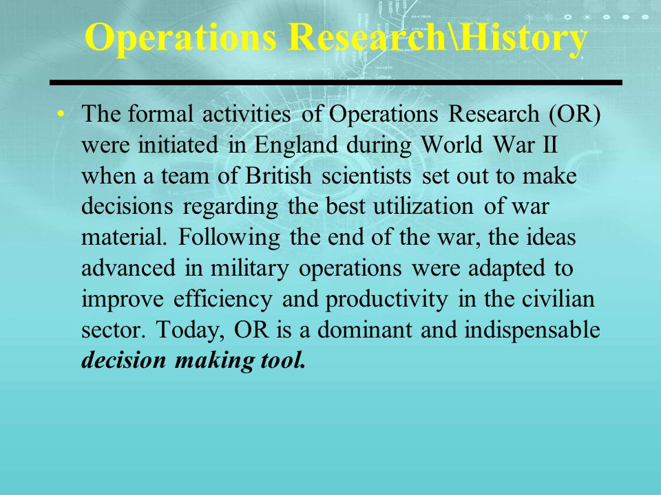 history of operational research pdf