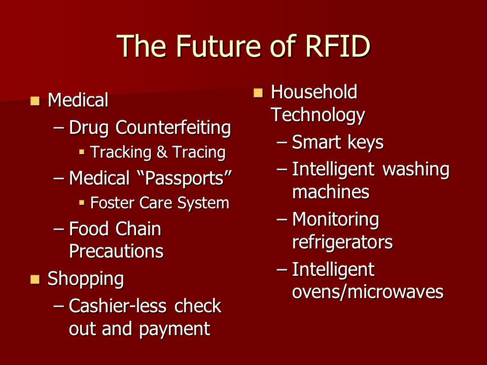 The Future of RFID Household Technology Medical Drug Counterfeiting