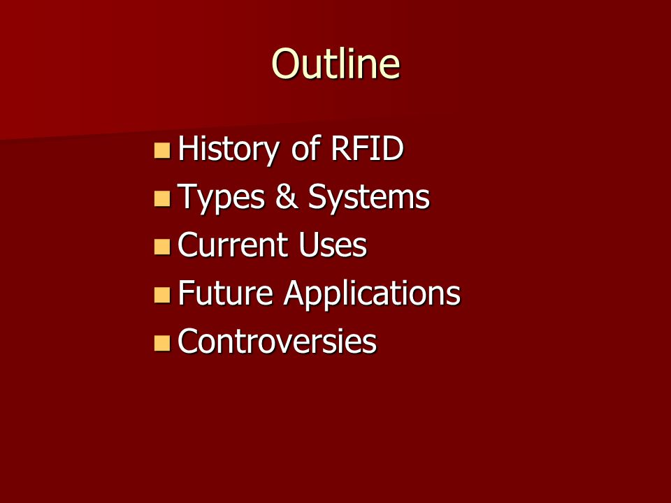 Outline History of RFID Types & Systems Current Uses
