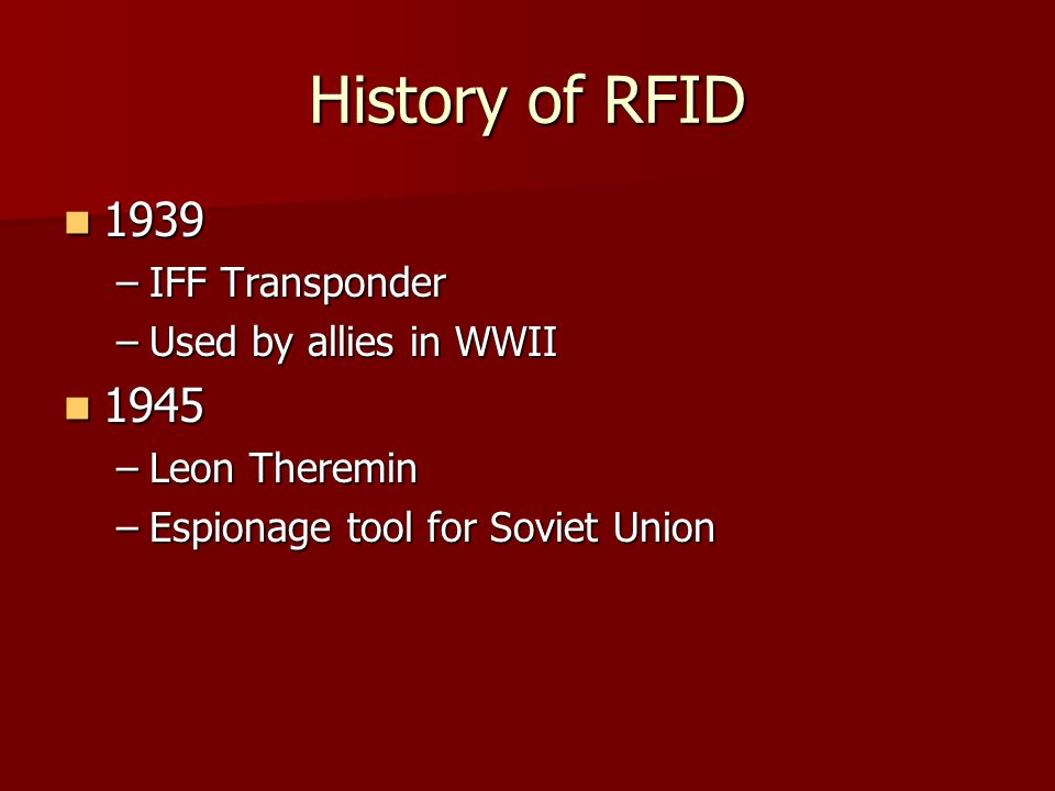 History of RFID IFF Transponder Used by allies in WWII