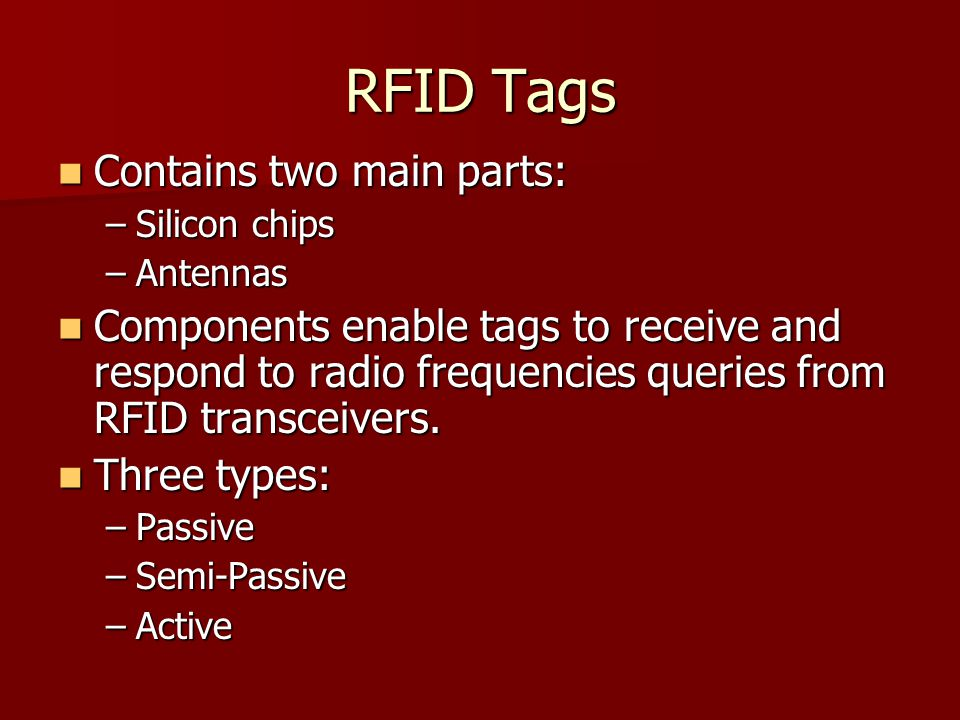 RFID Tags Contains two main parts: