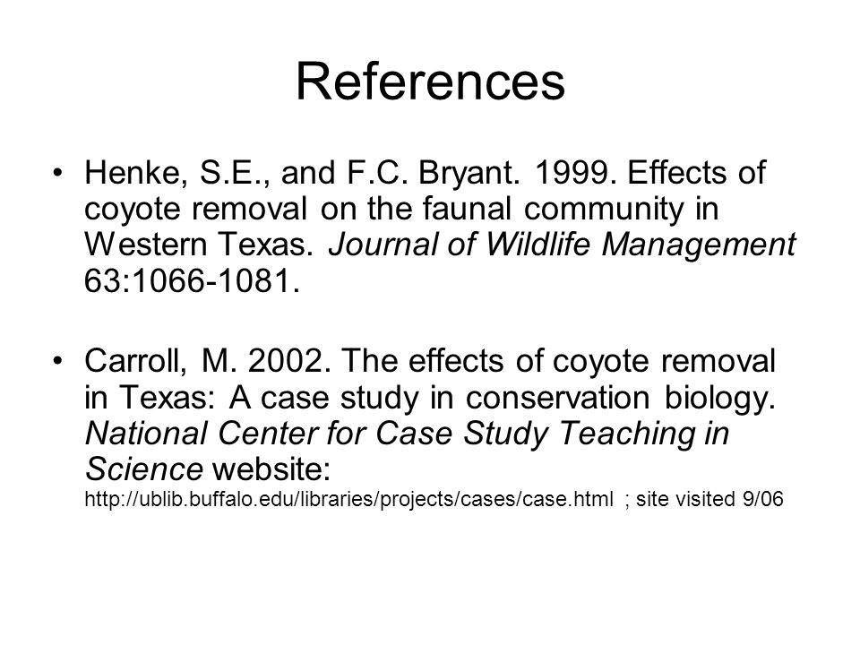 EFFECTS OF COYOTE CONTROL ON THEIR PREY: A REVIEW - Lincoln