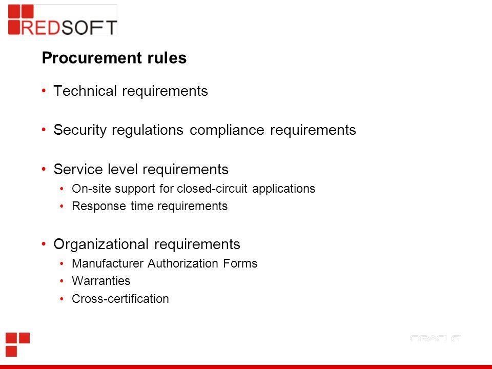 Procurement rules Technical requirements