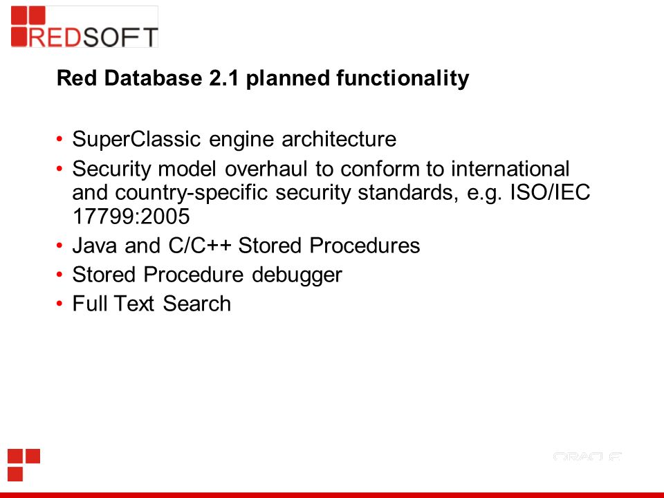 Red Database 2.1 planned functionality