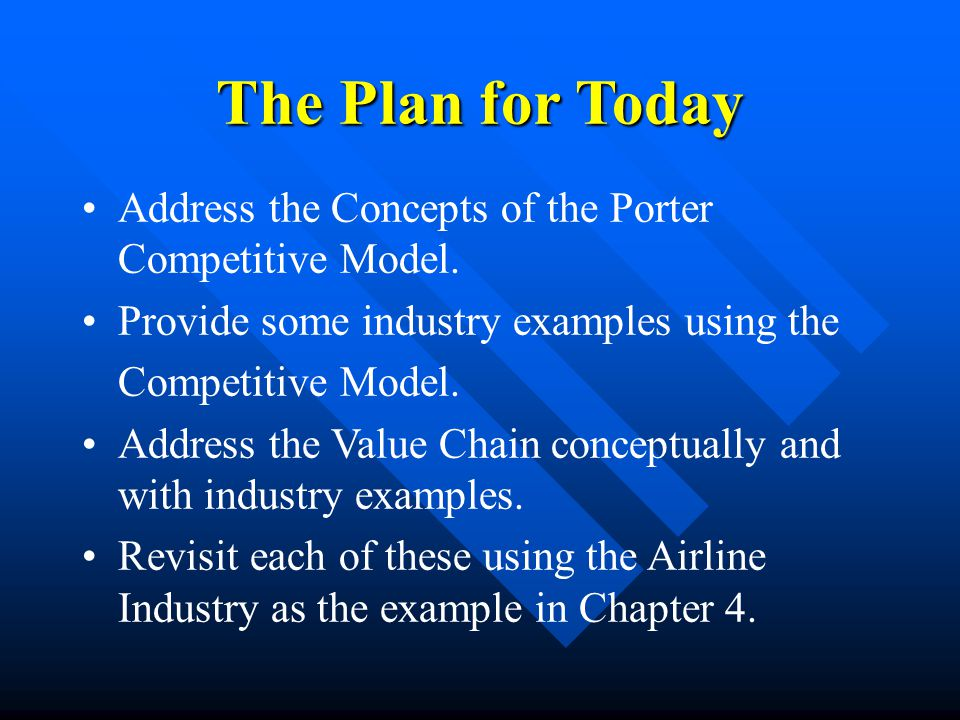 example of value chain for airline company Free essay: airline industry value chain inbound logistics primary activites stock control airlines must store and handle fuel, food, and drinks stock.