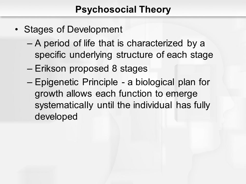 Psychosocial Theory Stages of Development. A period of life that is characterized by a specific underlying structure of each stage.
