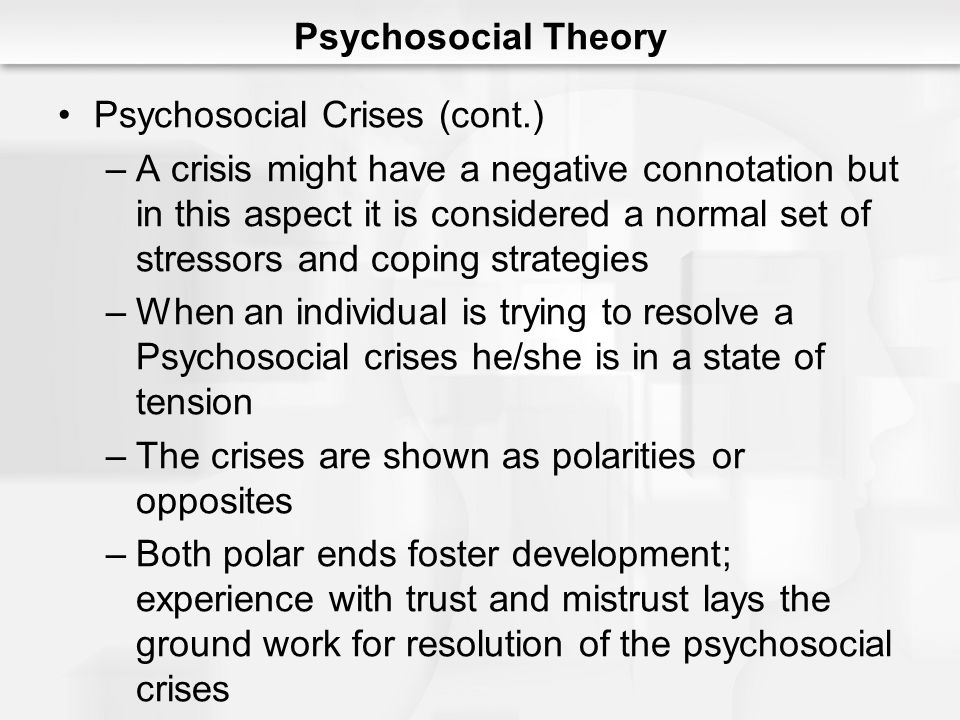 Psychosocial Theory Psychosocial Crises (cont.)
