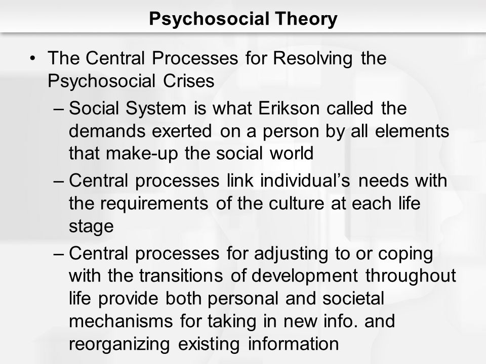 Psychosocial Theory The Central Processes for Resolving the Psychosocial Crises.