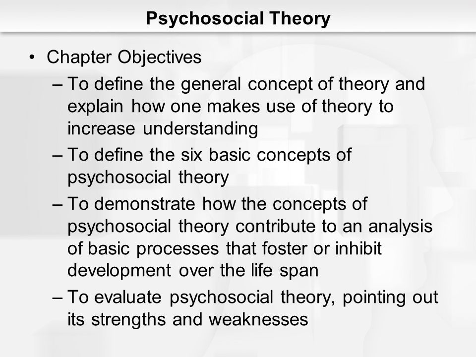 Psychosocial Theory Chapter Objectives. To define the general concept of theory and explain how one makes use of theory to increase understanding.