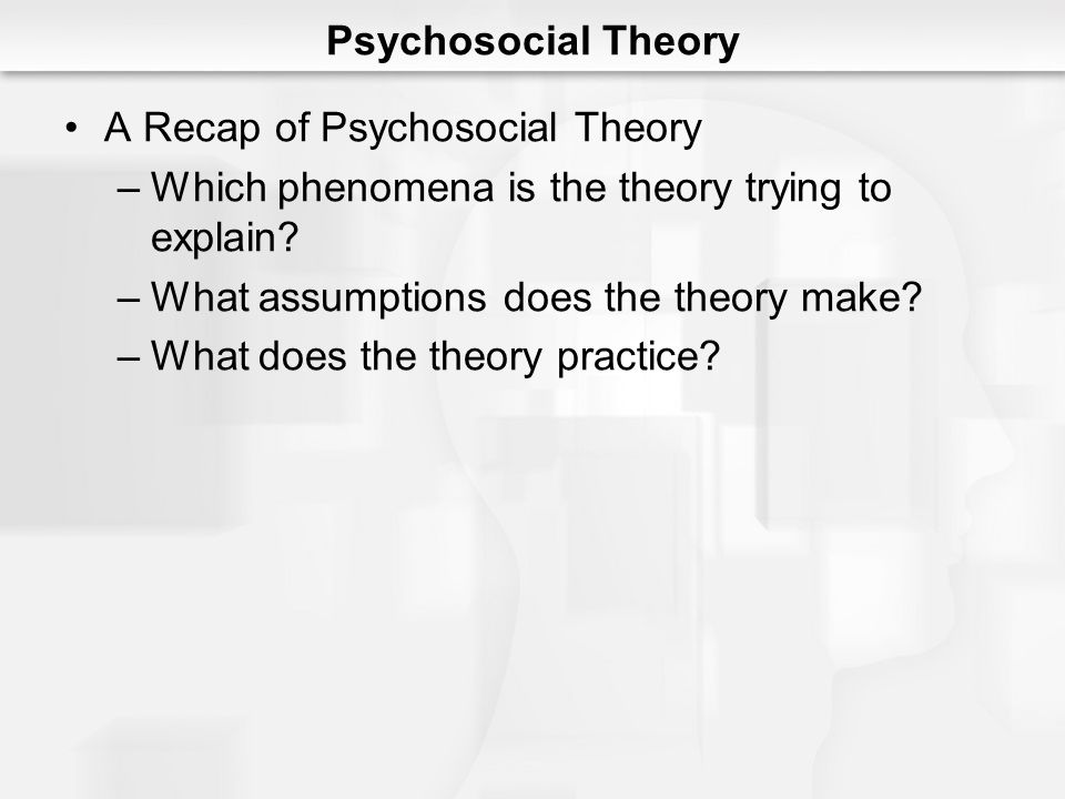 Psychosocial Theory A Recap of Psychosocial Theory. Which phenomena is the theory trying to explain