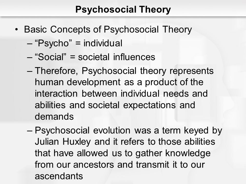 Psychosocial Theory Basic Concepts of Psychosocial Theory. Psycho = individual. Social = societal influences.