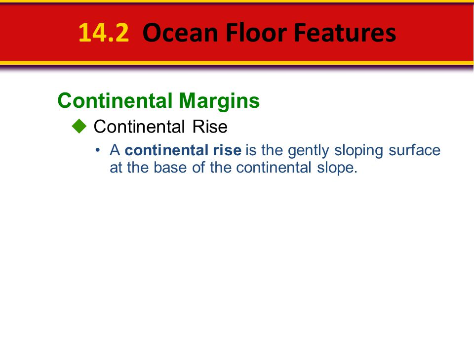 14.2 Ocean Floor Features Continental Margins  Continental Rise