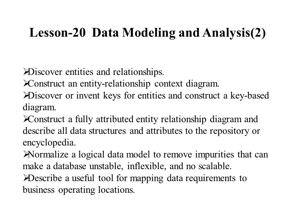 Lesson 20 Data Modeling And Analysis2 Ppt Video Online Download