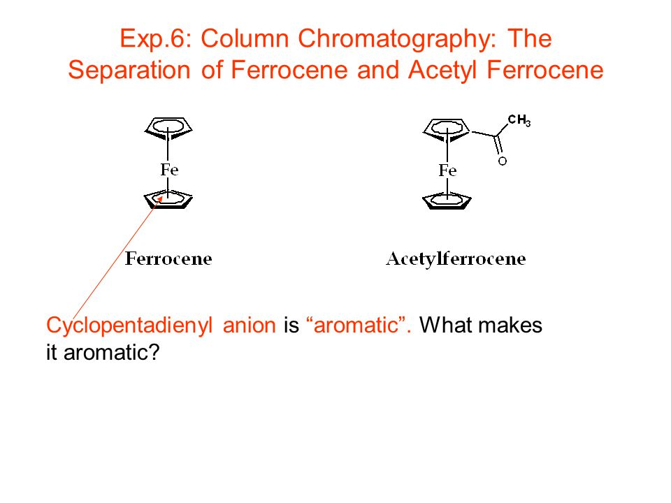 separation of ferrocene and acetylferrocene by Chromatographic separation,  ferrocene and acetylferrocene  it is very important when performing column chromatography that the column never be allowed to run.