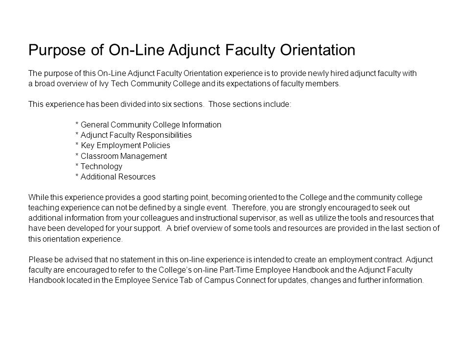 Ivy Tech Community College On-Line Adjunct Faculty ...