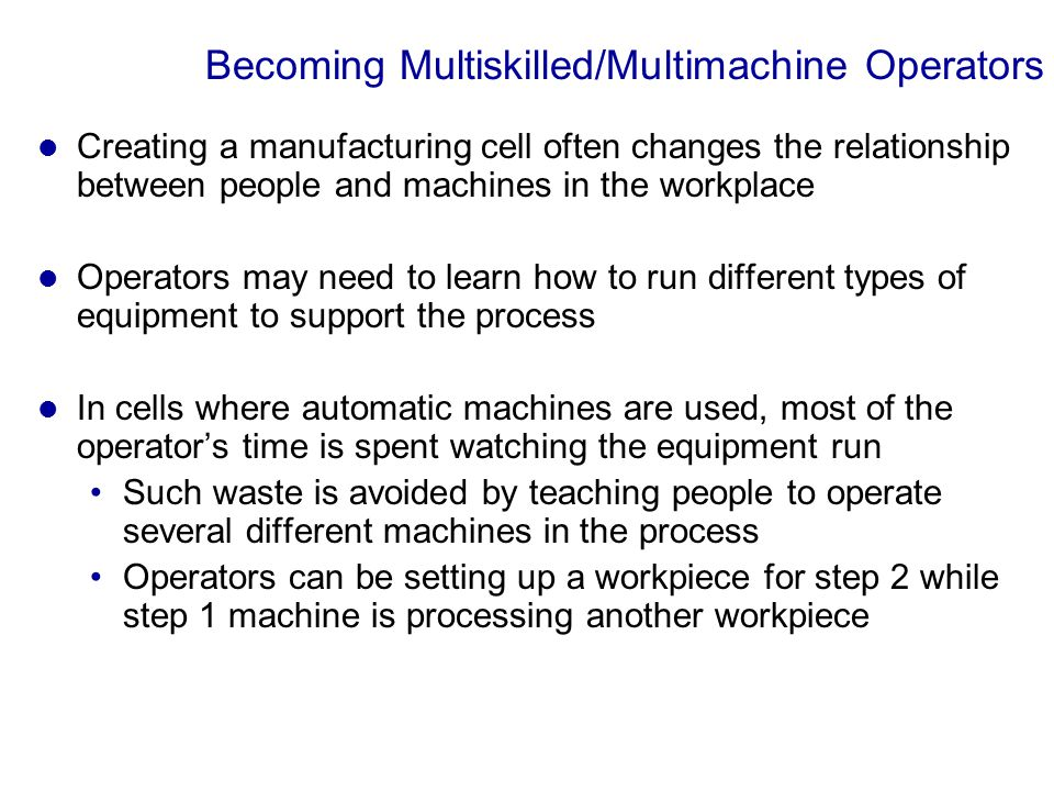 Becoming Multiskilled/Multimachine Operators