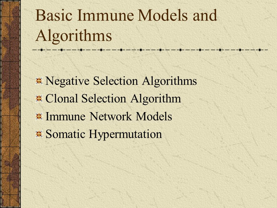 Basic Immune Models and Algorithms