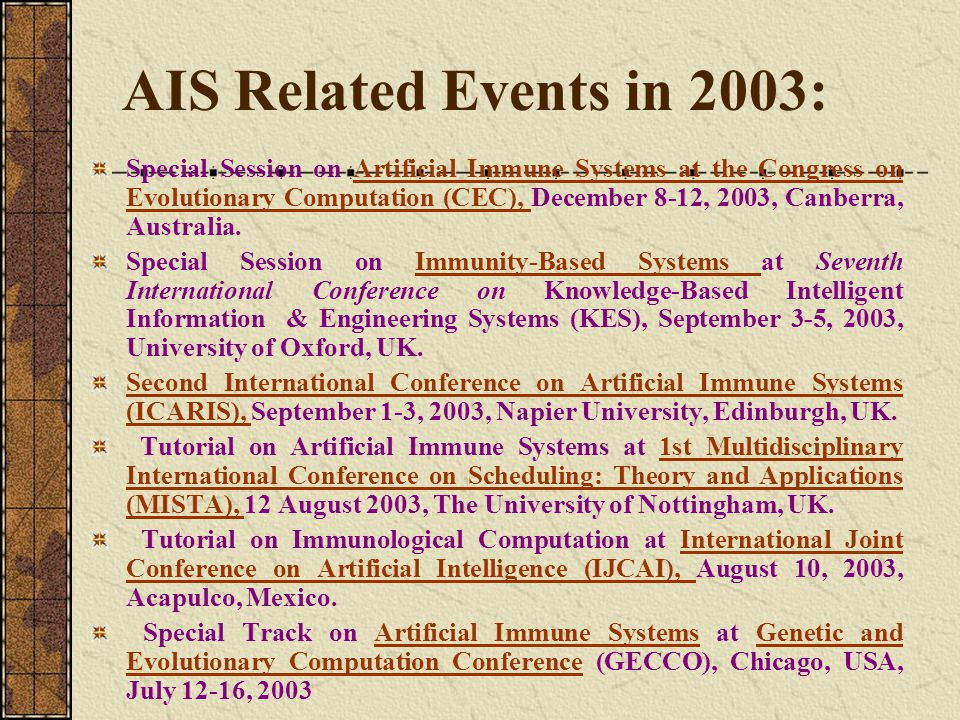 AIS Related Events in 2003: