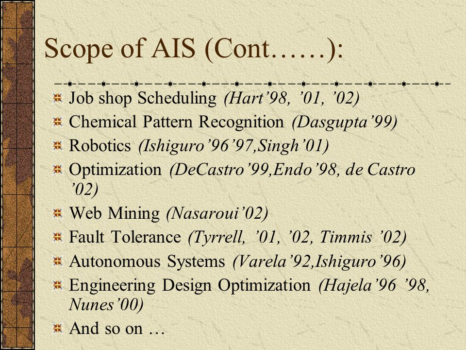 Scope of AIS (Cont……): Job shop Scheduling (Hart'98, '01, '02)