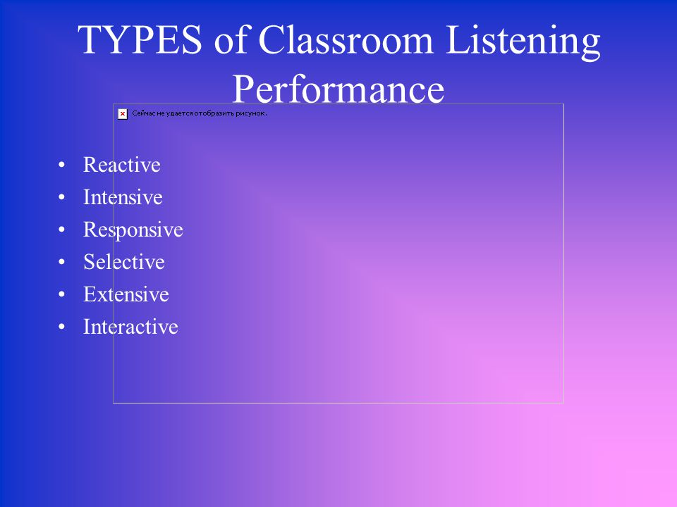 TYPES of Classroom Listening Performance