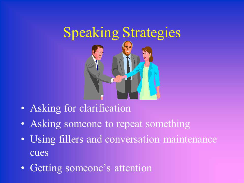 Speaking Strategies Asking for clarification