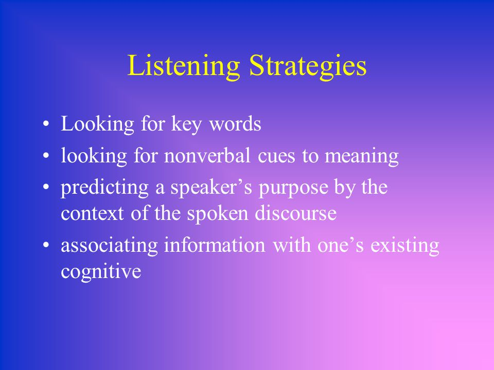 Listening Strategies Looking for key words