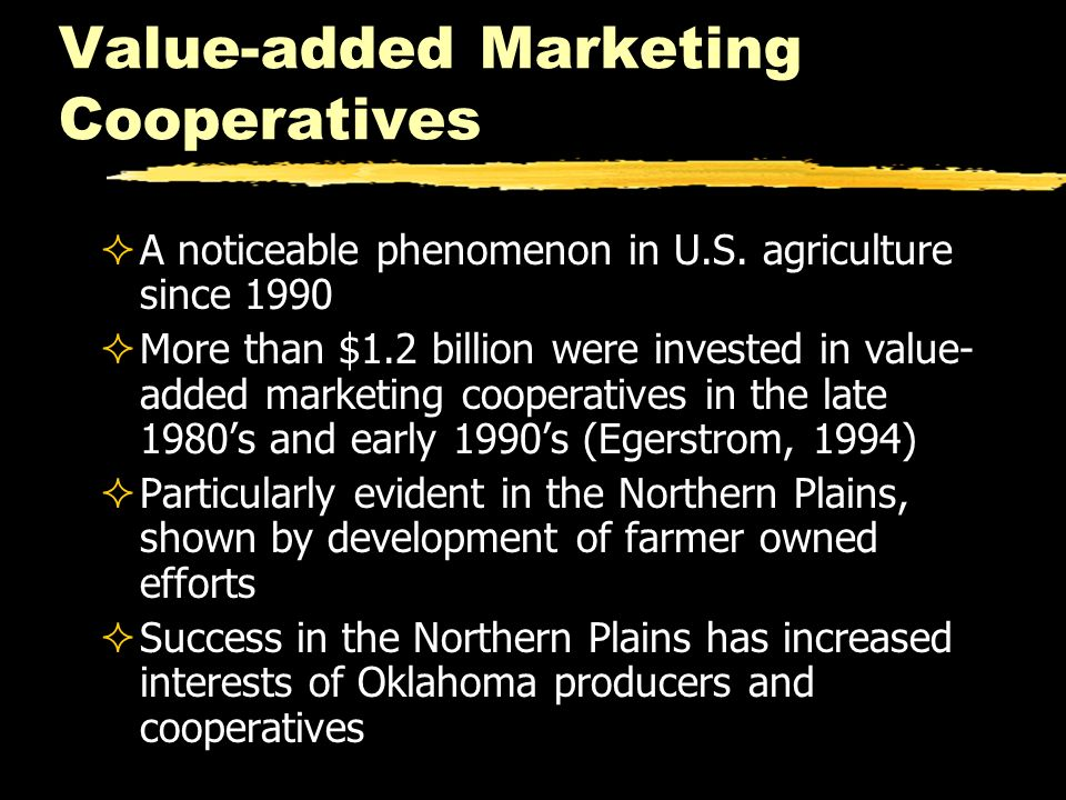 Value-added Marketing Cooperatives