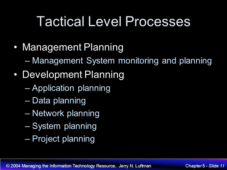 Tactical Level Processes