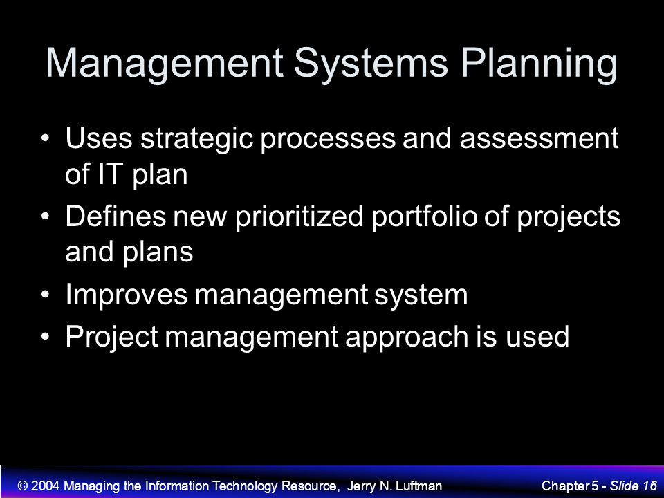 Management Systems Planning