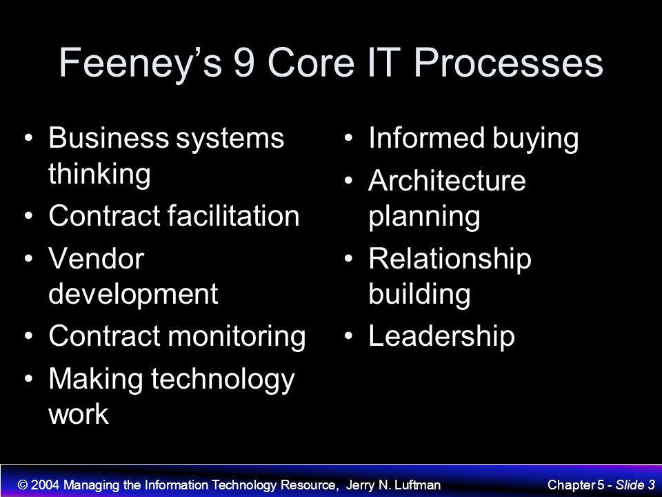 Feeney's 9 Core IT Processes