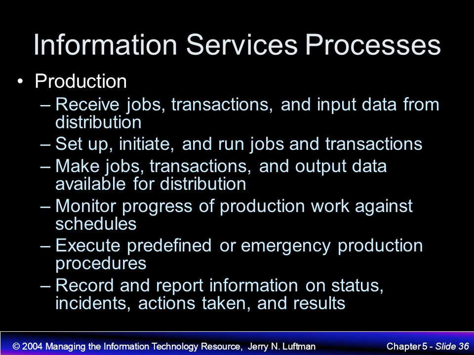 Information Services Processes