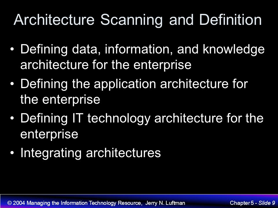 Architecture Scanning and Definition