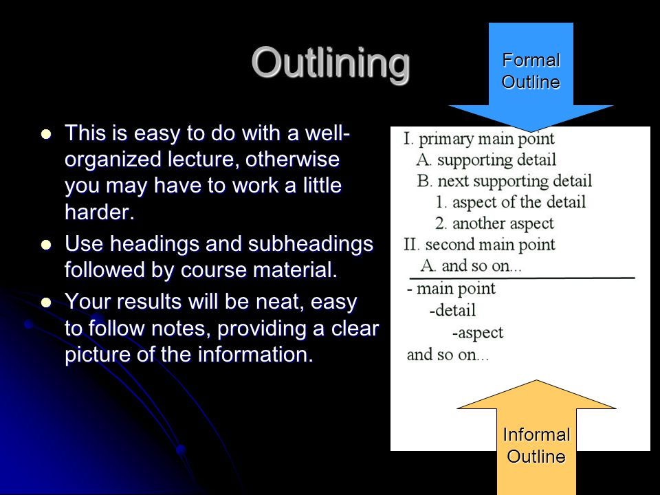 Outlining Formal. Outline. This is easy to do with a well-organized lecture, otherwise you may have to work a little harder.