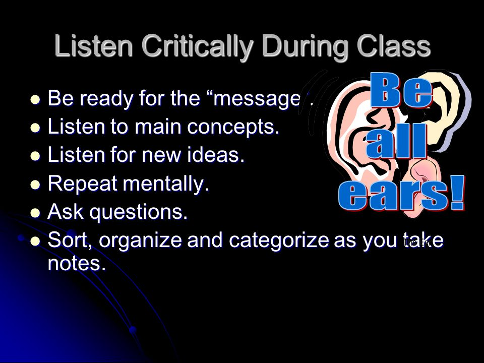 Listen Critically During Class