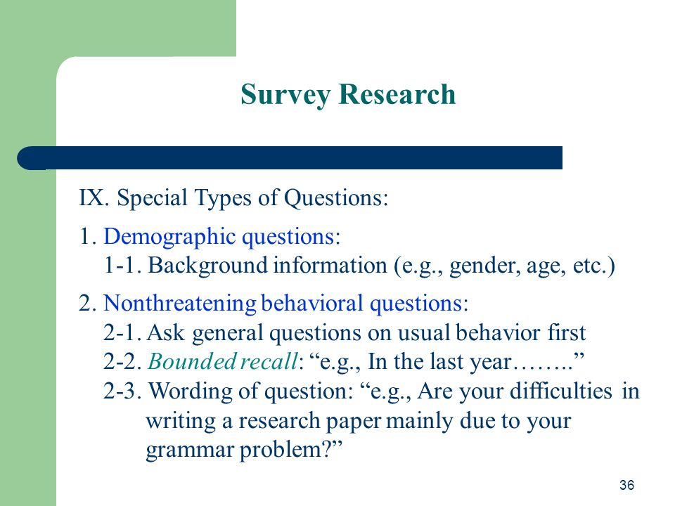 survey type research paper The quantitative methods paper is made up of five sections:  in the 1994 general social survey (hereafter gs s)  we were going to continue to do research on .