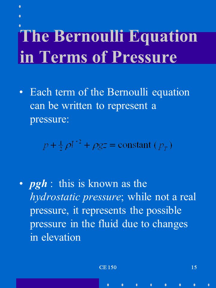 The Bernoulli Equation in Terms of Pressure