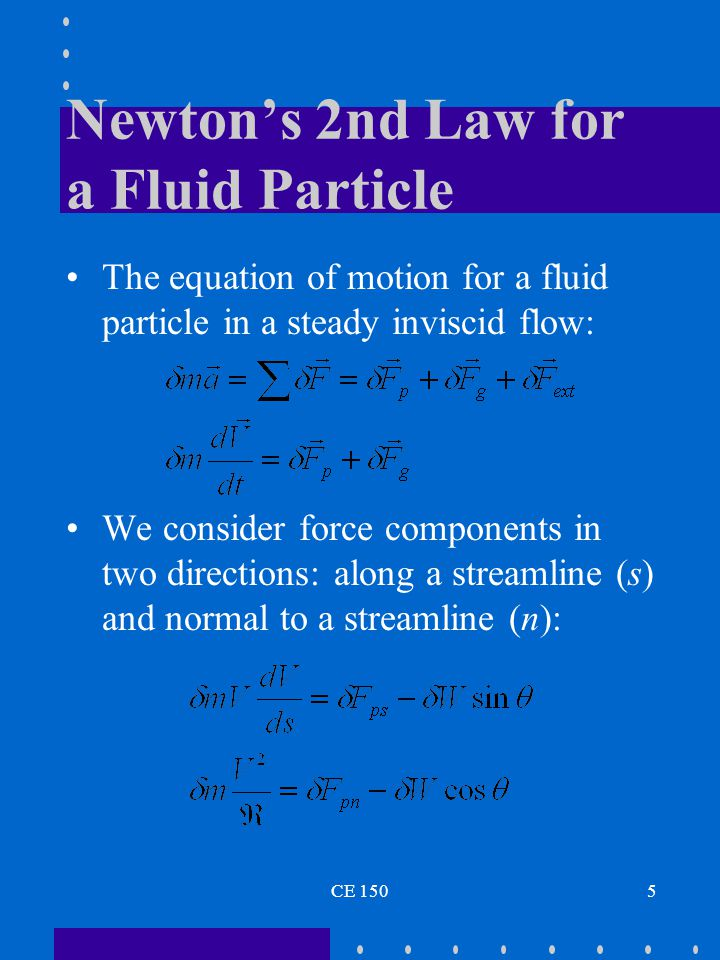 Newton's 2nd Law for a Fluid Particle