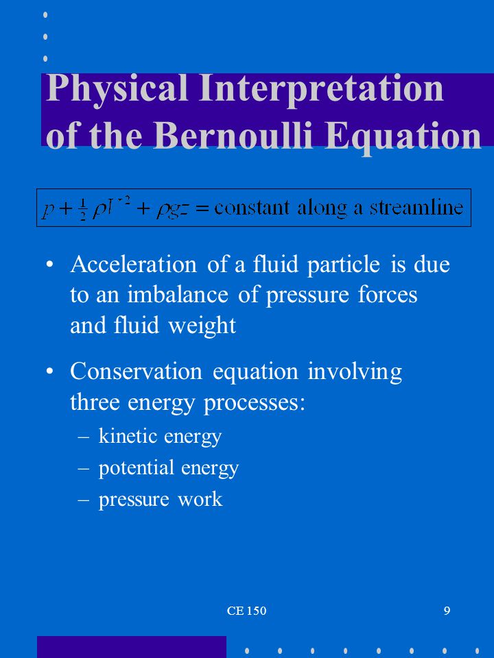 Physical Interpretation of the Bernoulli Equation