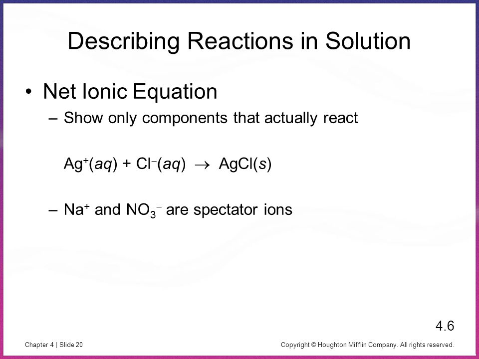 Describing Reactions in Solution