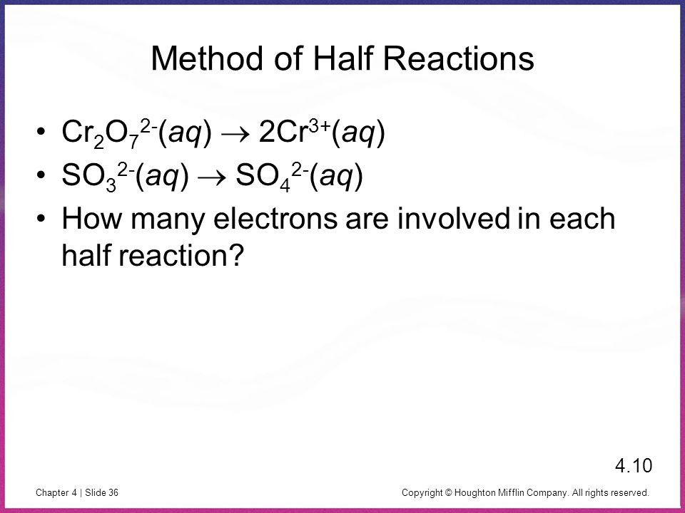 Method of Half Reactions