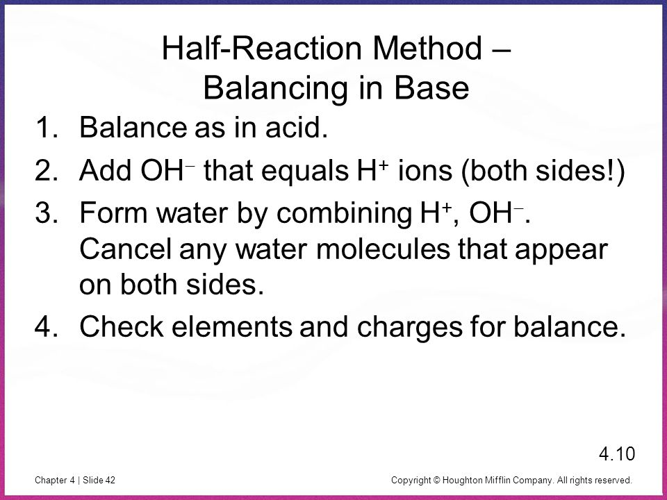 Half-Reaction Method – Balancing in Base
