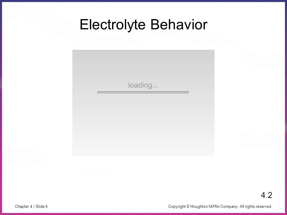 Electrolyte Behavior 4.2 Copyright © Houghton Mifflin Company. All rights reserved.
