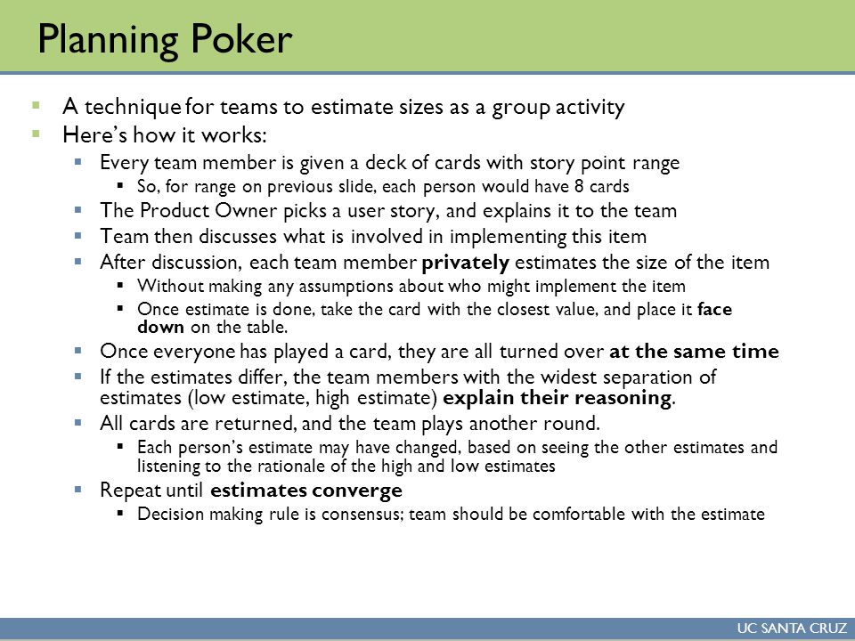 Course overview overview of scrum release planning ppt for Planning poker cards template