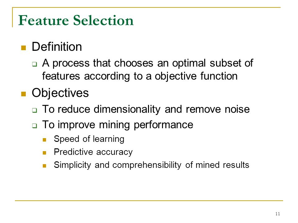 Feature Selection Definition Objectives