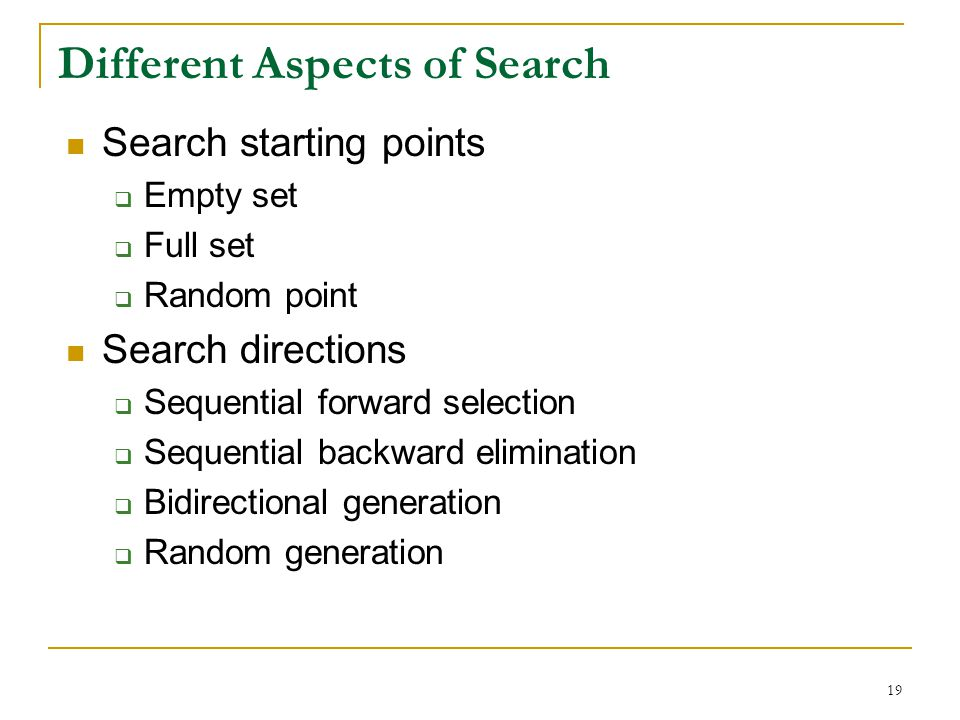 Different Aspects of Search